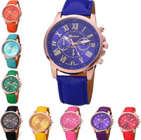Wholesale Roman Costumes For Women - Unisex Luxury Geneva Watches PU Leather Band Quartz Roman Numerals Analog Colored Wristwatches for Men Women Casual Crystal Wrist Watch 2017