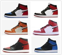 Wholesale Falling Reverse - classic 1 high top UNC Metallic Red basketball shoes sneakers GS bred banned Top 3 royal black reverse shattered backboard Black Toe Chicago