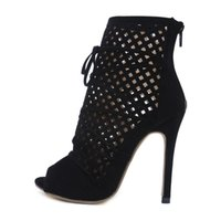 Wholesale sexy high heels boots women - 2018 summer fretwork ankle boots Summer Ladies Fashion High Heels Woman sexy Short boots stilettos heels 12cm sexy party shoes