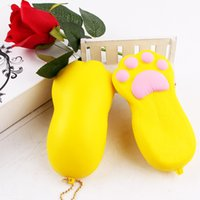 Wholesale bear paw charms online - Kawaii Squishy Slow Rising Decompression Toy Squishies Bear Paw Shape Phone Straps Charm Pendant Multi Color sq CR