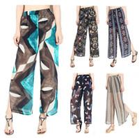Wholesale wide leg chiffon pants - Women Floral Chiffon Wide Leg Pants Spring Summer Patchwork Casual Loose Irregular Trousers 13 Styles LJJO4765