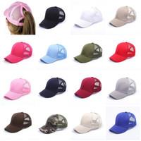 chapeau de renard blanc et noir achat en gros de-Glitter Ponytail Hat Messy Bun Ponycap Glitter Mesh Baseball Cap Sequin Softball Chapeaux 15 Couleurs A-727