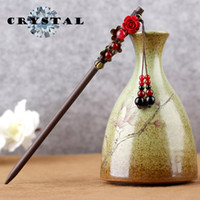 Wholesale chinese hair flowers - Women s Classical New Wood Hairpins Bun Decorate Antique Tire Flower Hair Pin Chinese Style Mother s Gift
