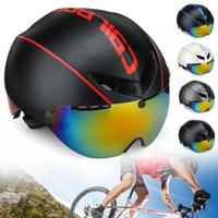 Wholesale race road bicycle helmet resale online - CAIRBULL AERO R1 Road Cycling Bike Helmet Racing Bicycle Safety Goggles Helmet Magnetic Sunglasses Colors for option