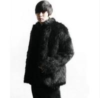 erkeklerin beyaz deri ceket toptan satış-Kış kalınlaşmak termal tilki kürk deri ceket erkekler rahat erkek pamuk-yastıklı palto palto siyah beyaz giyim moda sıcak