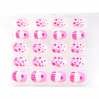 nails pink Australia - New Cute Pink Red Cake Children Fake Nails 20 Pcs Pre-glue Press on Nail Tips Nail Enfants Spots Embellishment