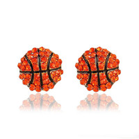 Wholesale balls for earrings online - Fashion Sports competition ball stud Earrings crystal Rhinestone basketball baseball Rugby softball volleyball Earring For women Jewelry