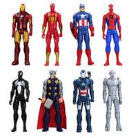 Wholesale Iron Man Anime - 30cm Anime Super Hero Iron Man Captain America Spiderman Green Goblin Venom Ultron Pvc Action Figure Can Moved Model Toys