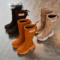 chaussures en daim coréen achat en gros de-Bébé Enfants Chaussures Date Hiver Enfants Filles Bottes De Mode Coréenne Suede PU Chaud Coton Interne Princesse Martin Bottes Chaussures de Loisirs