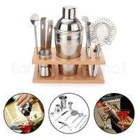 Wholesale bar sets cocktail shaker - Stainless Steel Shaker Kit Red Wine Cocktail Shakers Set Western Style Metal Shacker Kits Easy To Clean Bar Tool GGA498 20sets