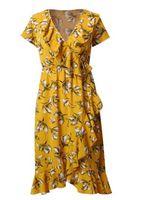 vestidos de moda bohemia al por mayor-Vestido estampado de verano de las mujeres de alta calidad Moda elegante vestido de Bohemia Bodycon Vestido de playa sexy con cuello en V manga corta amarillo S M L