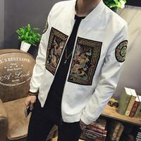 manteau de dragon chinois achat en gros de-Printemps Bomber Veste Hommes 2018 Style Chinois Dynastie Qing Dragon Robe Broderie Hommes Vestes et Manteaux Casual Coupe-Vent 5XL