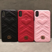 aşk notları toptan satış-Lüks Stil Aşk Kalp Telefon Kılıfı için Samsung S9 S8 Not 9 8 şık PU Deri Kabuk iphone X XS Max XR 8 7 7 Artı 6 6 s Artı kapak