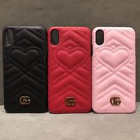 notiz-stil fällen großhandel-Luxus Stil Liebes Herz Telefon Fall für Samsung S9 S8 Hinweis 9 8 Stilvolle PU-Leder Shell für iPhone X XS Max XR 8 7 7 Plus 6 6 s Plus Abdeckung