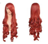 свободные длинные парики волос оптовых-Бесплатная доставка ++++ Head Resistant Chic Women New Fashion Orangered Curly Long Hair Wig