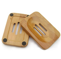 ingrosso piatti di piatti di bambù-Portasapone in legno naturale Portasapone in legno Portasapone portasapone Contenitore per vasca da bagno Doccia