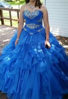 königsblaues süßes herzkleid großhandel-Royal Blue Quinceanera Kleid 2018 Prinzessin Ballkleid Sweetheart Falten Organza Sweet 16 Maskerade Kleider Kleider Plus Größe Vestidos De 15