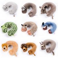 Wholesale animal shape cushions resale online - 2018 Fashion U Shape Car Neck Pillows Cartoon Animal Cushion Travel Pillow Neck Support for Airplane Car Office Home Sleep