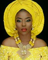 sarı kristal kolye toptan satış-Son Afrika Düğün Nijeryalı Boncuk Takı Setleri Sarı Gelin Kristal Bildirimi Kolye Seti Kadınlar Hediye Ücretsiz Kargo WE008