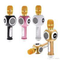 micrófonos de karaoke para celular al por mayor-M8 Micrófono inalámbrico Bluetooth Altavoz Luces de neón coloridas Teléfono celular Karaoke Micrófono en vivo Canta micrófonos universales de moda