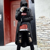 Extra long Trench coat with hood men Black color DJ Nightclub wear Autumn Spring