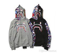 hoodies mais quentes venda por atacado-Barato Novo inverno Hoodie dos homens Um Banho AAPE Tubarão Macaco Com Capuz Casaco Com Capuz Camo Completa Zip Jacket Camuflagem Hoodies Hot