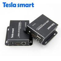 Wholesale hdmi network extender - Tesla smart IP Network KVM Extender High Quality 120m USB HDMI IR KVM Extender by CAT5e 6 TCP IP(1 TX+1 RX)