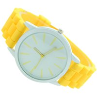 relogios de rosto amarelo venda por atacado-YCYS! Senhoras relógio clássico Gel Silicone Jelly assistir (amarelo + rosto branco)