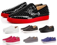 ingrosso scarpe argento slip-Hot Red Bottom Sneakers Scarpe Casual Uomo Donna Low Silver Designer Full Spikes Roller Boat Flats Skateboard Mocassini Design Uomo Donna Scarpe