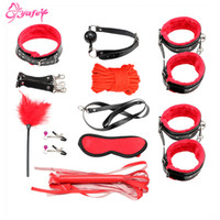 Wholesale sex foot game resale online - 10pce Set Bondage SM sexy toys Adult Games Bondage Restraint s Foots Nipple Clamp Whip Collar sex toys for couples Y18100803