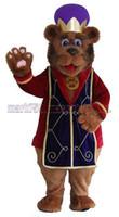 pelúcia livre venda por atacado-Bear King mascot costume frete grátis tamanho adulto, mascote urso rei festa de carnaval de brinquedo de pelúcia comemora vendas de fábrica de mascote.