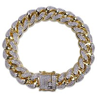 Wholesale micro invisible - 14mm Luxury Hiphop Miami Cuban Cubic Zirconia Bracelets Men Hip Hop Iced Out Full Micro Zircon Bangle Male Punk Jewelry
