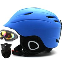 Wholesale Men Snowboard Set - Quality Plush Winter Snow Ski Helmets Set Goggles Mask 2 Gifts Man Woman Snowboard Helmet Snowmobile Sledge Moto Sports Safety