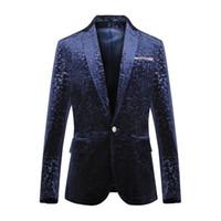 Wholesale Formal Clothes Men - Wholesale- men's clothing spring and autumn male gold velvet suit blazer men's clothing formal dress slim blazer jacket for singer