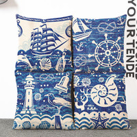Wholesale blue pattern cushion - Blue Mediterranean Sea Pillow Case Conch Sailing Pattern Flax Pillowcases Home Bedroom Decor Sofa Cushions Cover