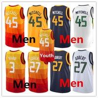 Wholesale Popular S - 2018 Mens New season Swingman jerseys Yhout 45 DONOVAN MITCHELL 27 RUDY GOBERT 3 RICKY RUBIO Very popular Stitched jersey free shipping