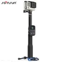 gopro wifi remote großhandel-Großhandel 37 '' für GoPro ausziehbare Handheld POV Pole Teleskop Stativ Monopod + Wifi Remote Halter Clip für Go Pro Hero 6 5 4 3 +