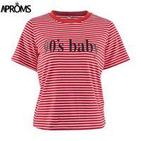 camisa de bebé básica al por mayor-Camiseta de rayas blancas y rojas de poliéster retro Camiseta básica de manga corta para mujer Camiseta casual de verano Streetwear Boyfriend 90s Baby Tops
