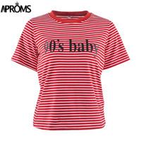 babyhemd basic großhandel-Polyester Retro Rot Weiß Streifen T Frauen Kurzarm Basic T-Shirt Sommer lässig Streetwear Boyfriend Tshirt 90er Jahre Baby Tops