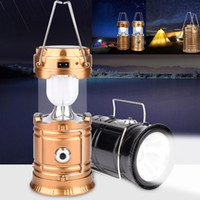 Wholesale rechargeable lantern bulbs for sale - Group buy Outdoor Camping Tent Lantern Flashlight Collapsible Emergency Light LED Lamp Rechargeable Portable Solar USB Charging