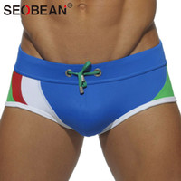Wholesale men s boxers designs - Seobean Brand Men Swimwear Swimsuits Low Waist Man Swim Wear Beach Surf Board Trunks Swimming Boxers Gay Penis Pouch Wj Designed