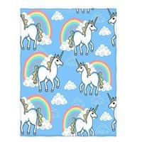 ingrosso camping coperta leggera-Unicorno e nuvola con arcobaleno Stampa Super Soft Throw Coperta per divano letto Divano da viaggio leggero da campeggio
