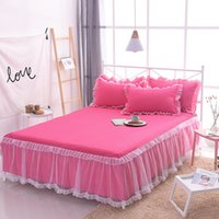 Wholesale white wedding bedspreads for sale - Group buy Princess luxury Bed Skirt Korean wedding bedding sets white Lace rose red bedspread bed skirt pillowcase girls home textile