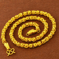 yellow statement fashion necklaces NZ - Hip Hop Necklace Chain 18k Yellow Gold Filled Fashion Mens Necklace Link Chain Statement Jewelry 60cm Long