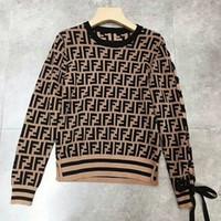 кружевные стили оптовых-2018 Fashion Style Luxury Design Logo Letter FF Women Girl Lady Noble Slim Lace up Sleeves Knits Sweater 1 шт Бесплатная доставка