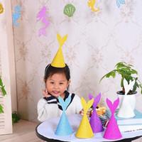 Wholesale blue party powder - Children Birthday Hat Creative Gold Powder Mermaid Tail Cap Cute Kid Headgear Festive Party Decor 1 2dy C R