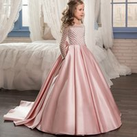 Wholesale wedding wear for girl kid online - Pink Long Sleeves Flower Girl Dresses Vintage Satin Floor Length Formal Wedding Party Gowns For Kids Toddler Pageant Wears MC1539