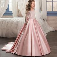 kleinkindboden großhandel-Rosa lange Ärmel Blumenmädchenkleider Vintage Satin bodenlangen formale Hochzeit Party Kleider für Kinder Kleinkind Pageant trägt MC1539