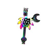 Wholesale slide guitar for sale - Group buy 10pcs Rainbow Color Guitar Pliers Beads Cage Locket Pendant Diffuser Aromatherapy Perfume Essential Oils Diffuser Floating Pom