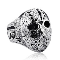 Wholesale wedding party masks resale online - Black Friday Hockey Jason Mask SKull Rings Mens Stainless Steel Jewelry for Men Silver Halloween Jason Mask Ring Drop Shipping